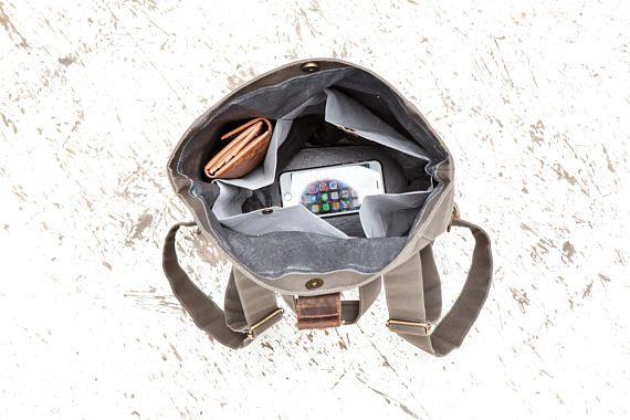 Kaki tela zaino in pelle, idrorepellente, grande, borsa per le signore, mens borsa, sacchetto del computer portatile, in pelle, tela, unisex, uni borsa, borsa tutti i giorni La borsa è casual e cool sottilmente sportivo. La borsa è in pelle e tela resistente. Il materiale è resistente
