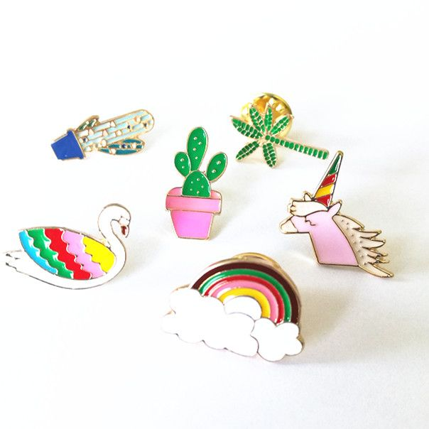 X141 Cartoon Cute Hand Unicorn Cactus Fish Shell Swan Metal Brooch Pins Button Pins Jeans Bag Decoration Brooches Gift Wholesale [Affiliate]
