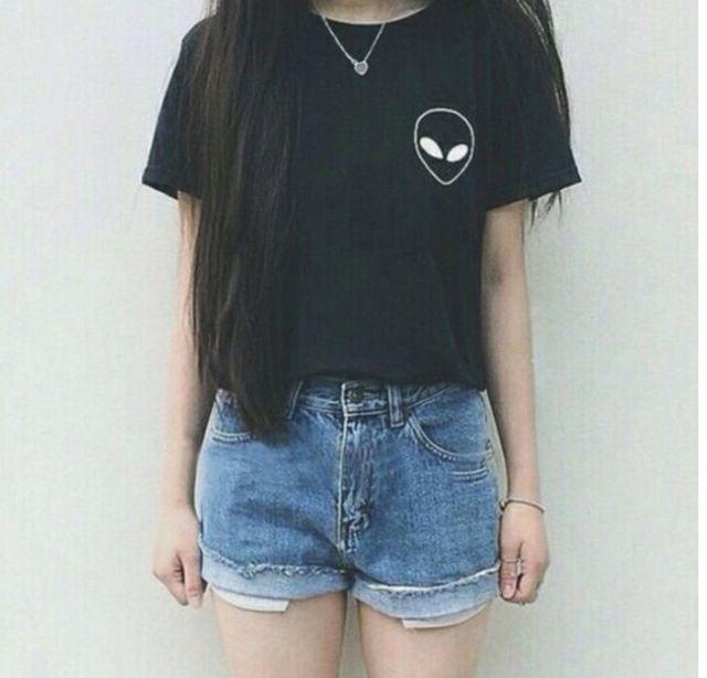 Femmes Sexy hippie t - shirt ALIEN poche lettre grunge t - shirt coton Casual Tumblr t-shirts hauts de Sport d'été Style pull