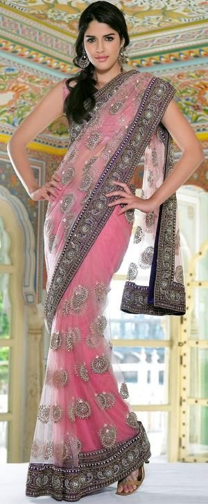 Ethnic baby pink net saree..not a fan of baby pink..but this is so pretty! by…