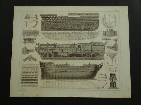 1849 SHIPS old print of ship design  antique by DecorativePrints
