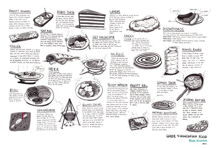 Artist Nick Hilditch's excellent illustration: A Guide to Hungarian Food #Hilditch#