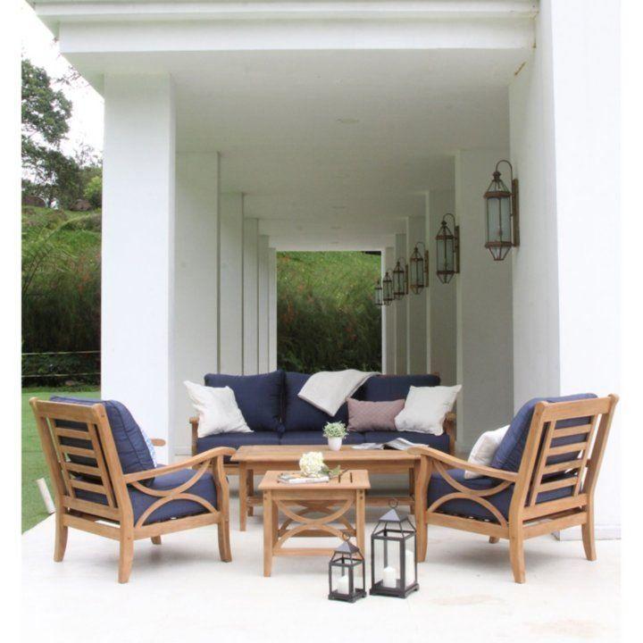 Teak And Wicker 3 Piece Chat Set By Joshua Lane Sam S Club 1000 Teak Patio Furniture Patio Design Teak Sofa