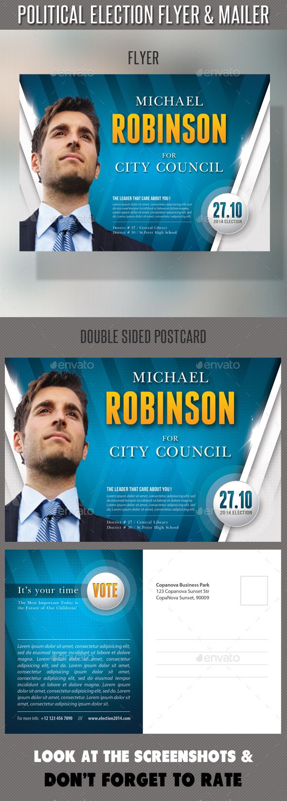 Political election flyer and mailer template flyers for Election brochure template