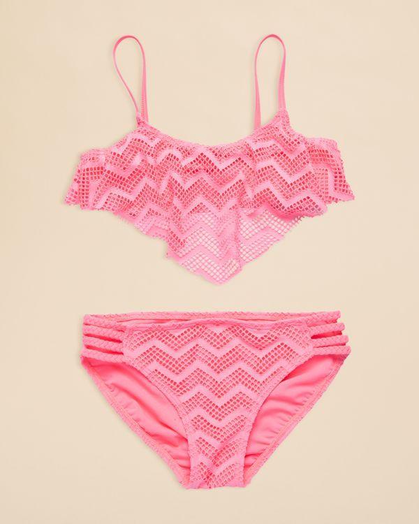 Gossip Girl Girls' Endless Summer Crochet Flounce 2 Piece Swimsuit - Sizes 7-16