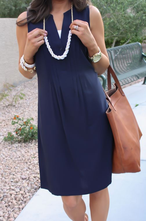 Navy Dress, White Jewels, Cognac Tote, Madewell, Banana Republic, Old Navy 24