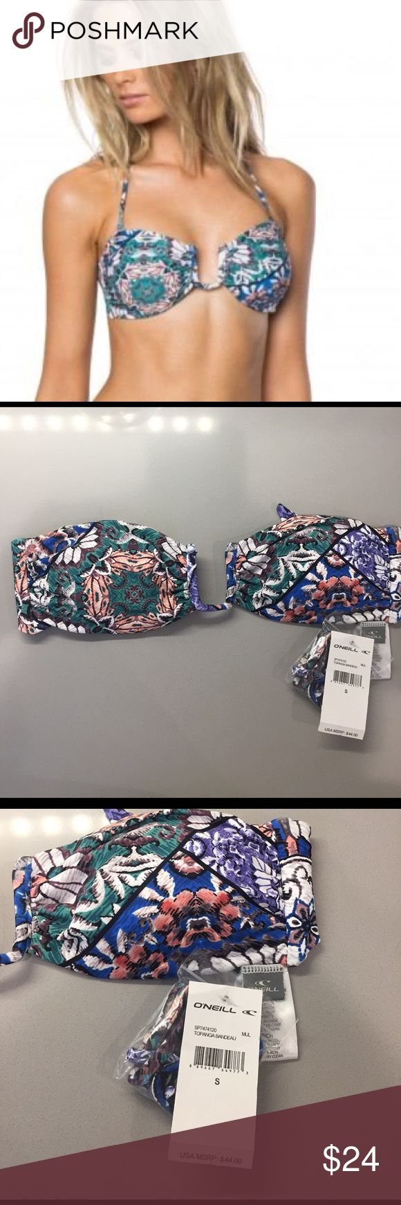 """O'Neill Topanga Bandeau NWT Spring 2017 collection. U wire, sash tie back, removable pads and neck strap.  🚫🚫🚫PayPal or Trades. Reasonable offers will be considered- lowball offers will be ignored! Please use the """"offer"""" button- I don't negotiate in the comments! Bundles are automatically discounted through Posh! I have an O'Neill size chart listed in my closet- please refer to this for fit & size advice. O'Neill Swim Bikinis"""