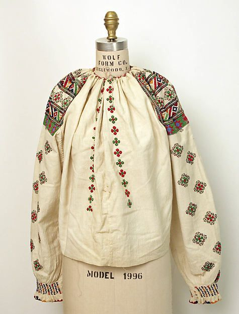 Blouse | Romanian | The Met. Date:	1875–1925 Medium:	cotton, glass