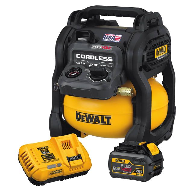 This tool is in made in Jackson, Tennessee with global materials and is part of the growing FLEXVOLT® System from DEWALT. For the user that wants to leverage their existing pneumatic tools, the FLEXVOLT® 60V MAX* 2.5 Gallon Cordless Air Compressor is a compact, portable, and lightweight choice at only 21.5 lbs. without a battery. The compressor achieves up to 1,220 nails per charge using one 6.0Ah FLEXVOLT® Battery (DCB606) and a DEWALT 18 GA Brad Nailer (DWFP12233).
