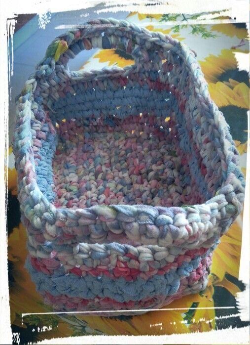 ...old t-shirt crochet basket..