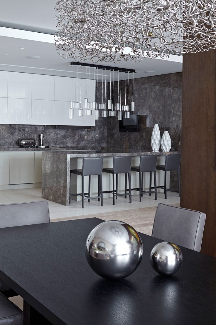 Pinterest: @1jasminedesiree I Kitchen colours Contemporary Loft in Russia Integrating Elegant Design Elements