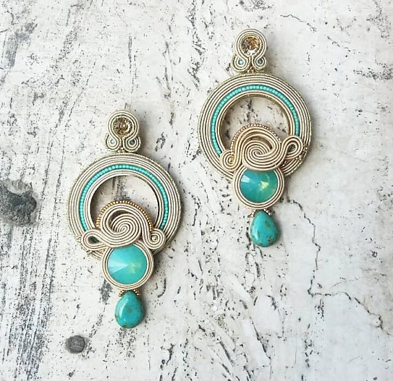 Orecchini soutache. Soutache earrings turchese