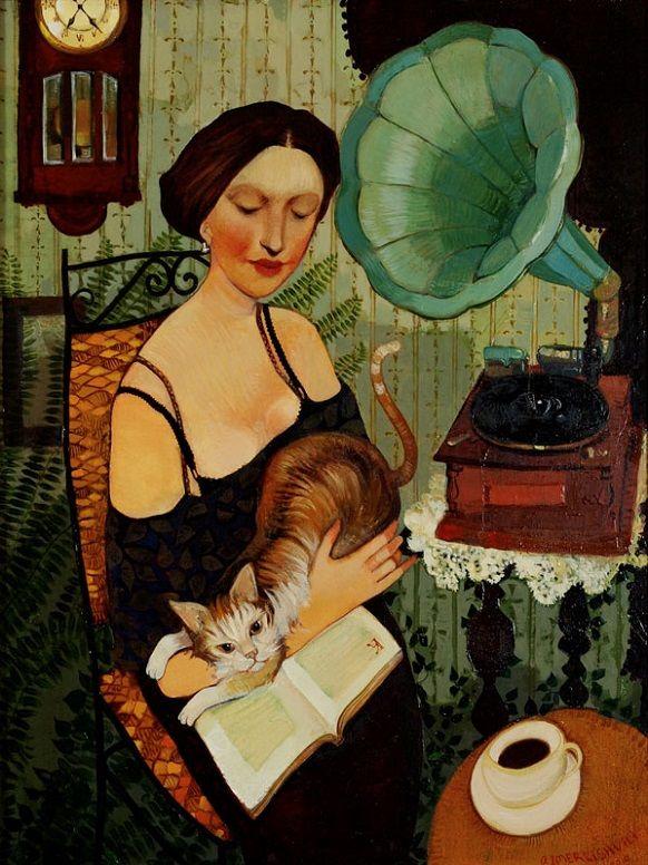 Otar Imerlishvili (Georgia, 1970-) - The Girl with the Book - Könyv, zene, kávé macska és az idő nem vész kárba… ha a kutyát is hozzáveszem a hangulatjavulás garantált