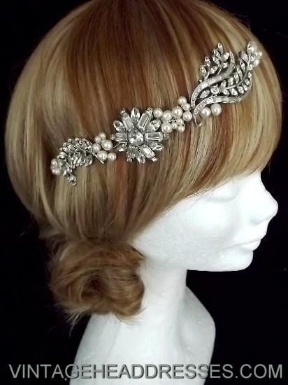 Vintage 1940s Floral Bridal Hair Vine - Wedding Hair Accessory - Bridal Wreath Circlet - Art Deco Halo via Etsy