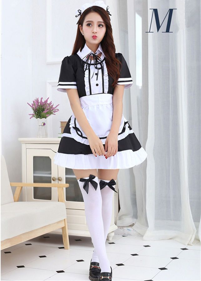 Sexy Japanese Anime Lolita Maid Uniform Dress Cosplay Costume Outfit Plus  Size Lolita Maid Anime 20bf1848f7d8