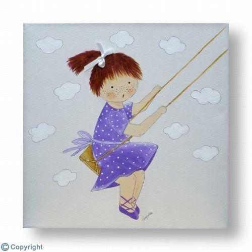 Cuadro infantil personalizado: Niña en un columpio (ref. 10188)