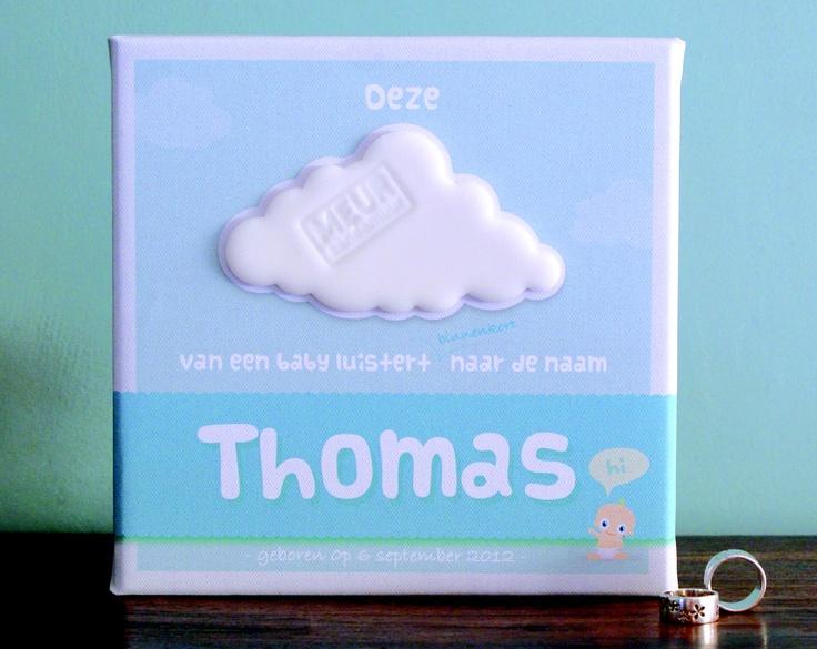 Naar babyolie geurende gepersonaliseerde Meur(tjes)AanDeMuur (20x20 cm)