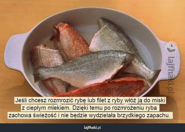 Jeśli chcesz rozmrozić rybę włóż do ciepłego mleka zachowa świeżość nie bedzie wydzielała brzydkiego zapachu