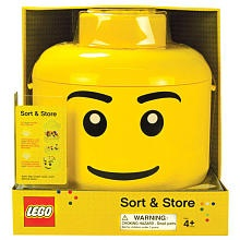 Lego Sort and Store. Toss in a handful of Lego blocks then shake. The bricks sift through grids, separating into groups of small medium and large.