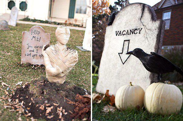 déco-Halloween-jardin-idées-pierre-tombale-corbeau-squelette-enterré