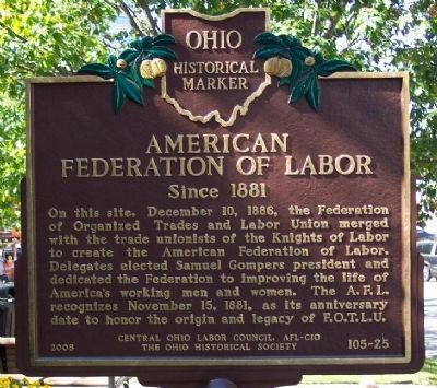 1890 – The United Mine Workers of America is founded in Columbus, Ohio. | American Federation of Labor / United Mine Workers of America Marker