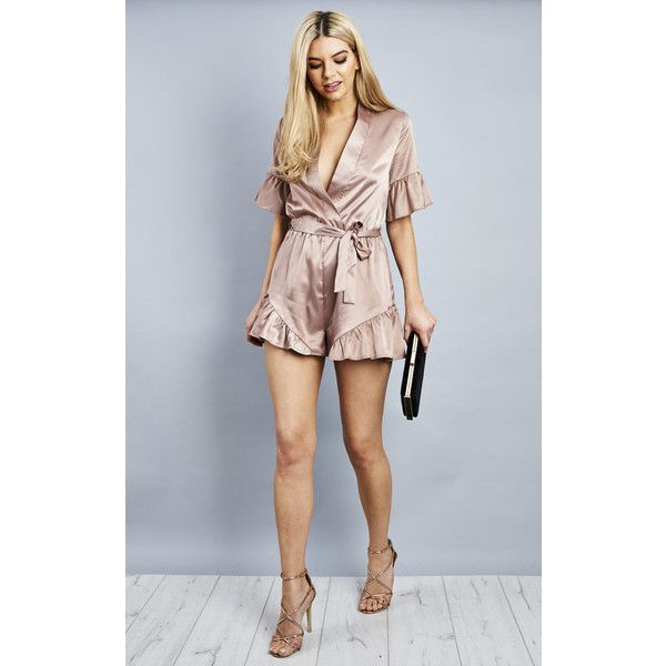 Lilah Rose Nude Satin Wrap Ruffle Belted Playsuit (£37) ❤ liked on Polyvore featuring jumpsuits, rompers, pink, playsuit romper, ruffle romper, pink rompers, pink romper and ruffle rompers