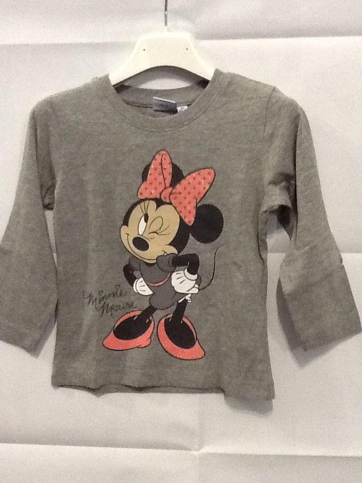 Maglietta grigia manica lunga bambina MINNIE Disney 2 anni