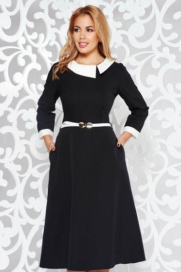 Fekete ruha elegáns harang enyhén rugalmas szövet öv típusú kiegészítővel 97936476ad