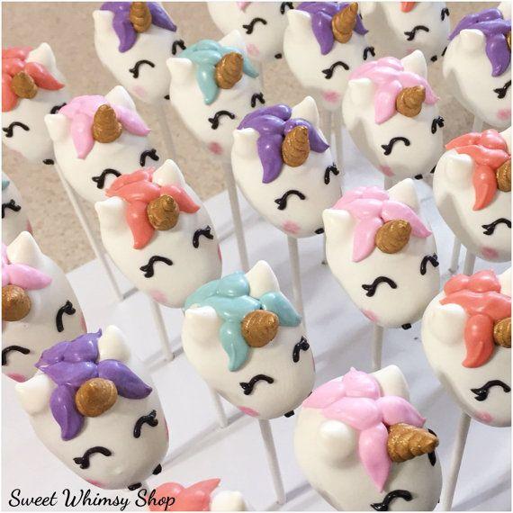 12 Unicorn Cake Pops for Fairytale party Rainbow theme pink