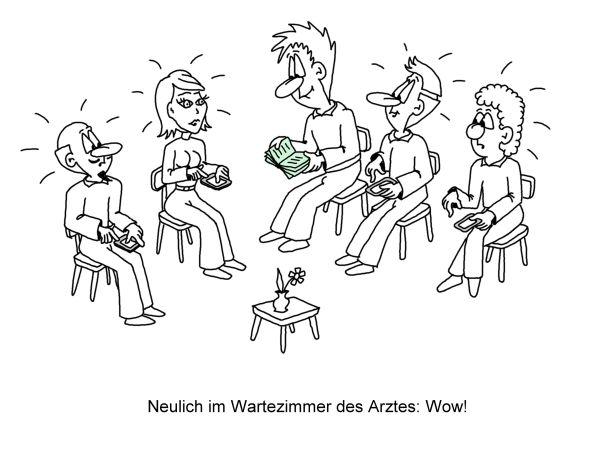 Karikatur Wartezimmer Arzt, Smartphone
