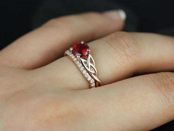 Cassidy 14kt Rose Gold Round Ruby and Diamonds Celtic Knot Wedding Set (Other Metals and Stone Options Available) on Etsy, £913.77