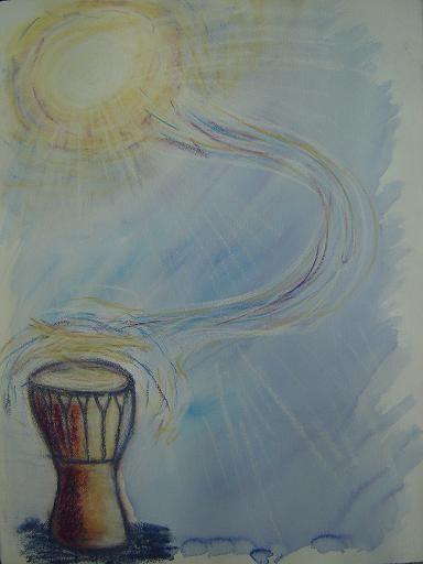 drum guache & pastel  copyright sharron jones