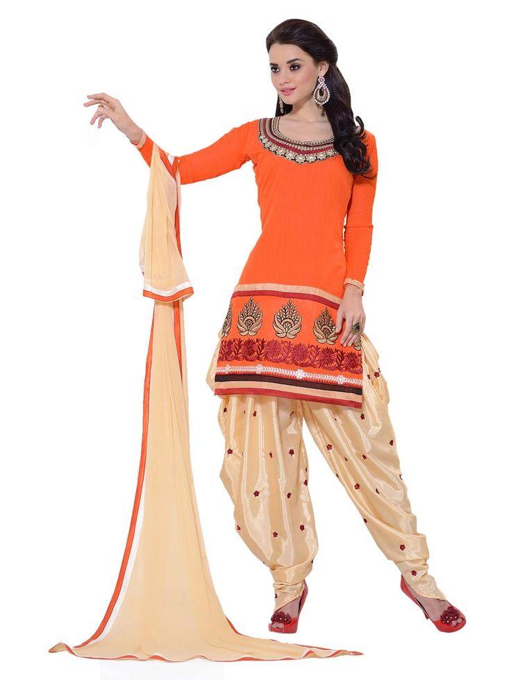 Chanderi Cotton Border Work Plain Orange Unstitched Patiala Suit - 1005 at Rs 1199
