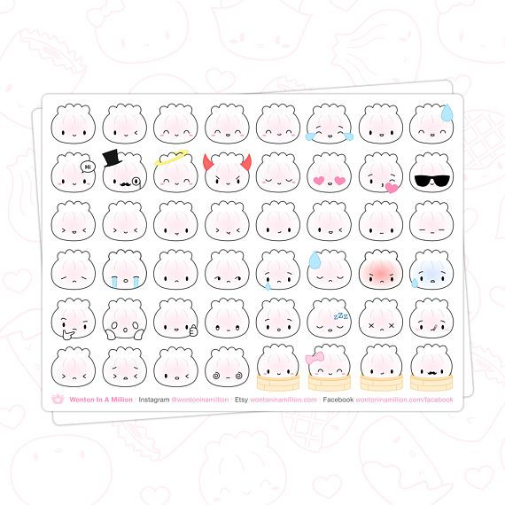 """******************************************************************************** SHRIMP DUMPLING EMOJI PLANNER STICKERS! ********************************************************************************  WHAT YOU GET: 1 sheet of 48 stickers, featuring the cutest shrimp dumpling EMOJIS! Express ALL the emotions ;) If you like dimsum and go every other weekend or at least wish you got to go every other weekend, this is for you ;)  THE STICKERS: Each sticker is about 0.5"""" width and 0.5""""..."""