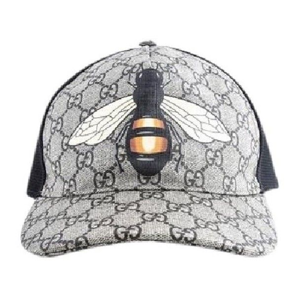 Gucci Bee Print Gg Supreme Baseball Hat ($311) ❤ liked on Polyvore featuring accessories, hats, bee hat, ball cap, baseball hats, baseball cap hats and gucci