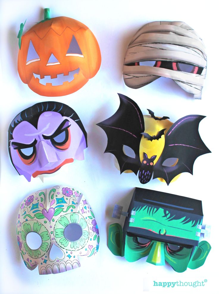 Make these great masks for Halloween with printable templates ready to download instantly from https://happythought.co.uk/product/10-printable-halloween-masks