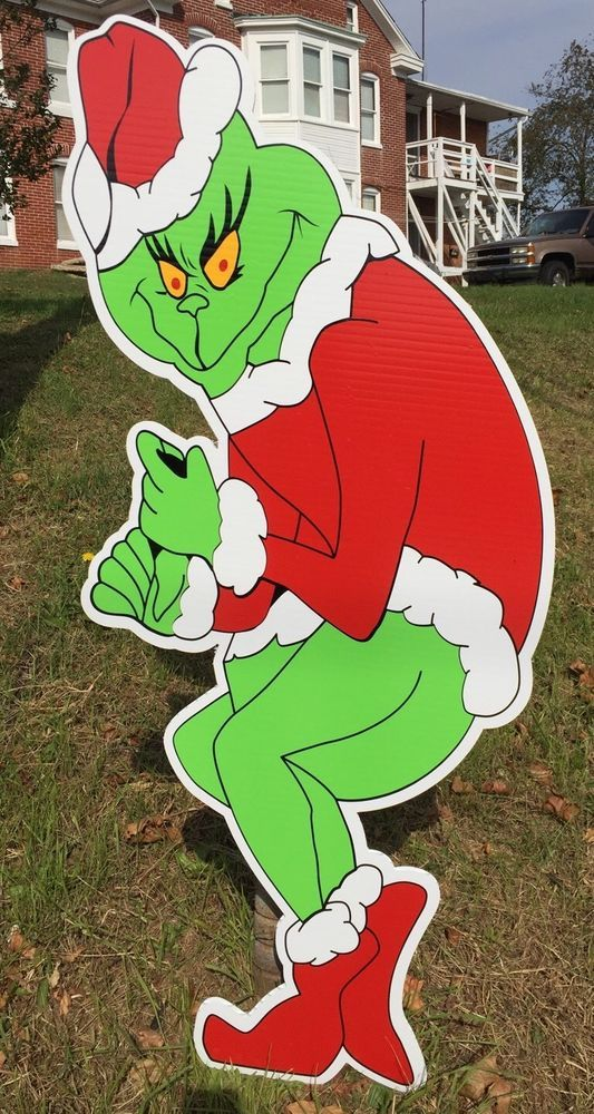 Grinch Steals Christmas Yard Decoration Stealing Lights Ships Today HighQuality | eBay