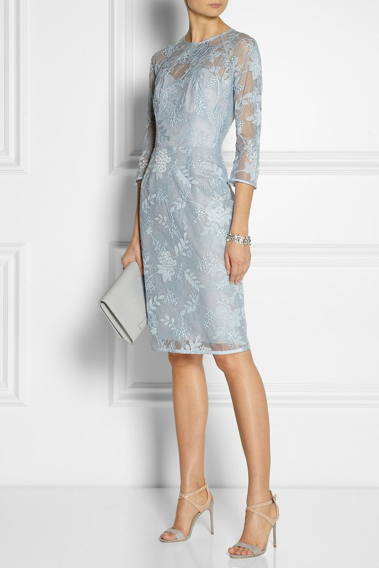 I like this style and length, but in black.  Lela Rose | Chantilly lace dress | NET-A-PORTER.COM