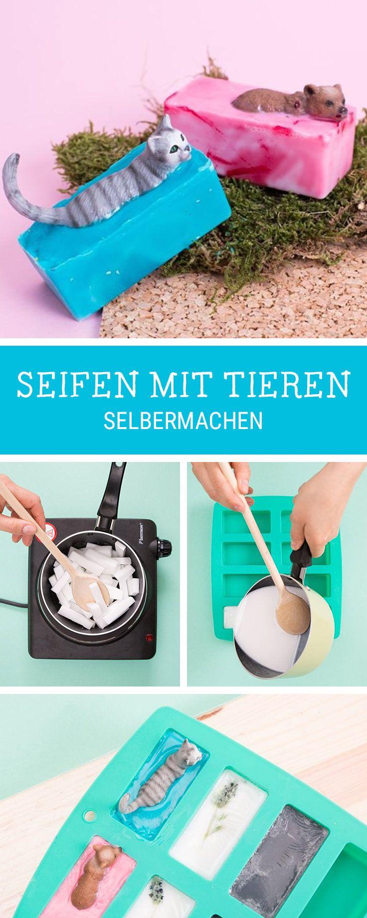 DIY-Idee fürs Basteln mit Kindern: Seife mit Tieren selber machen / crafting with kids: homemade soap with plastic animals via DaWanda.com
