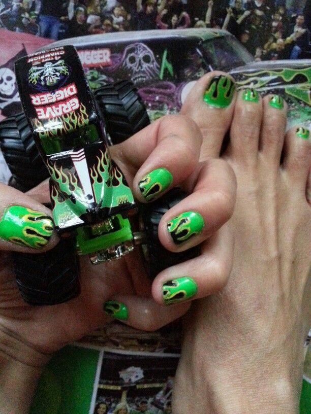 neon green flame nail art grave digger  inspired nail art