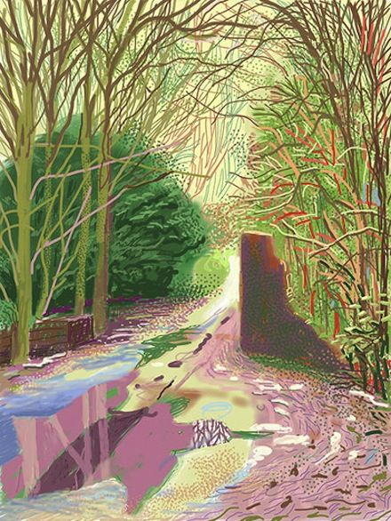 David Hockney, The Arrival of Spring in Woldgate, East Yorkshire, 2011, a 52-part work included in David Hockney 'A Bigger Picture Exhibition at The Royal Academy of Art through April 9, 2012.