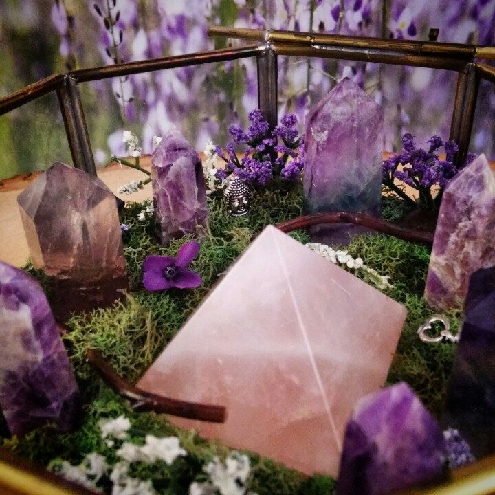 The newest Crystal Garden featuring Amethyst, Fluorite, Rose Quartz....and Buddha :) Crystaljypsyjewelry.etsy.com