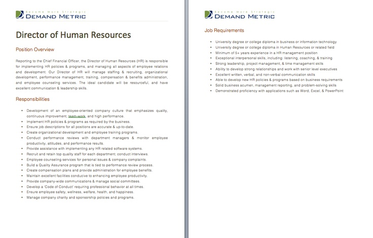 Director Of Human Resources Job Description  A Template To