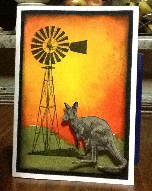 Dylusions background with kaszazz australiana stamps