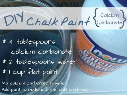 The Best DIY Chalk Paint Recipe  (Buy calcium carbonate on Amazon)