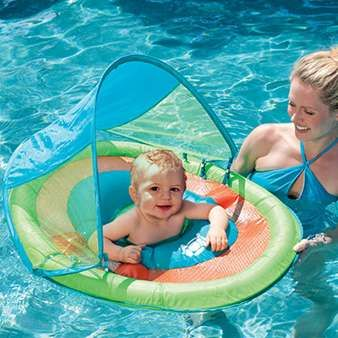 SwimWays Baby Spring Float with Sun Canopy - $29.95. Available in green turtle, blue whale, or pink flower designs.