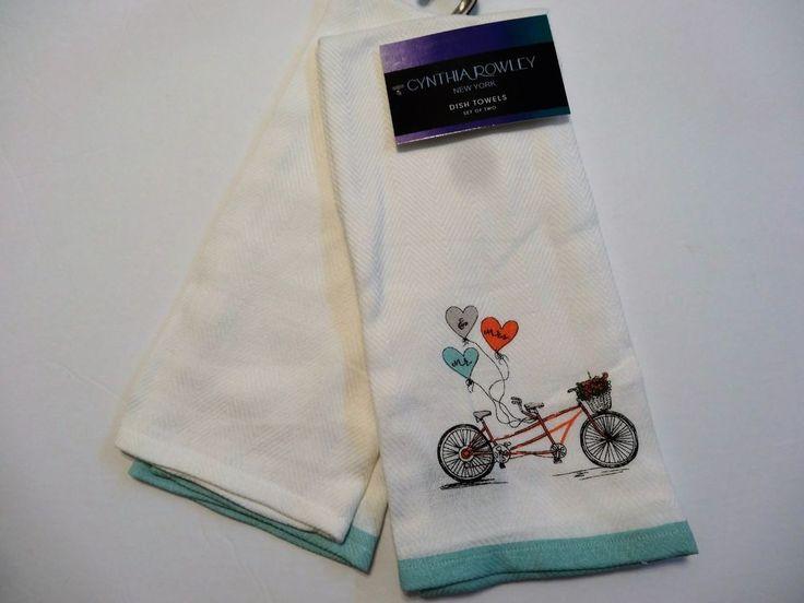 Cynthia Rowley Wedding Tandem Bicyle Kitchen Dish Towel Set Mr. And Mrs.  Gift #