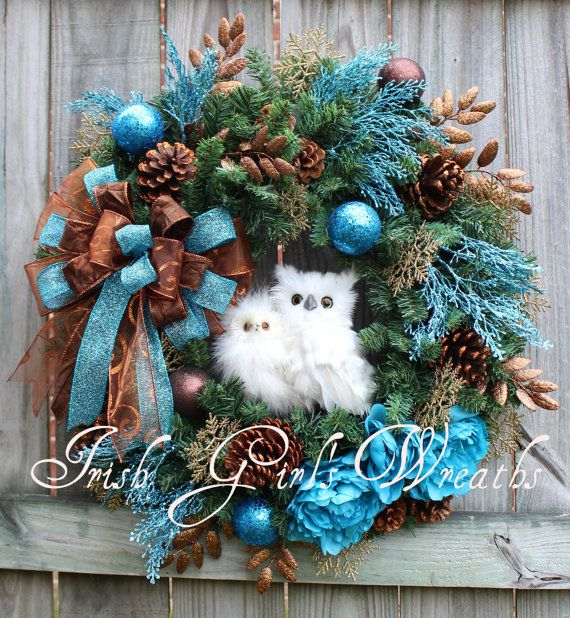 Rustic Woodland Turquoise Copper Brown Christmas Owl Wreath, by IrishGirlsWreaths, $149.99