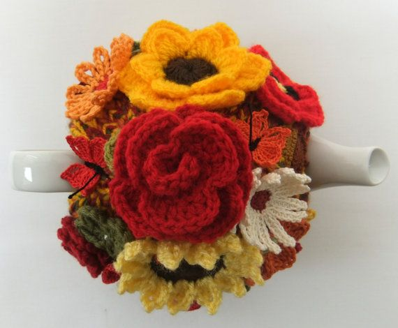 Hand knitted 4 cup autumn rose tea cosy