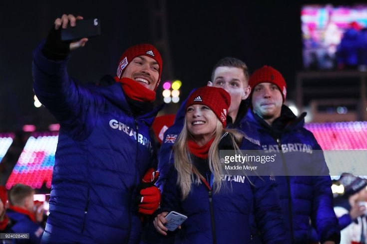 Team Great Britain take photos in the Parade of Athletes during the Closing Ceremony of the PyeongChang 2018 Winter Olympic Games at PyeongChang Olympic Stadium on February 25, 2018 in Pyeongchang-gun, South Korea.